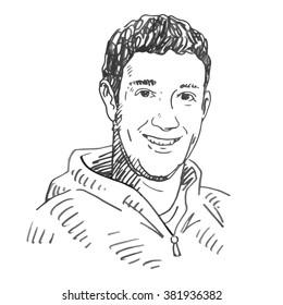 Mark Zuckerberg. Vector freehand pencil sketch. Moscow, October 01, 2012.
