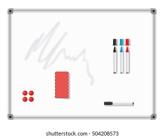 Marker Board. White board with colored markers and eraser. Vector illustration.