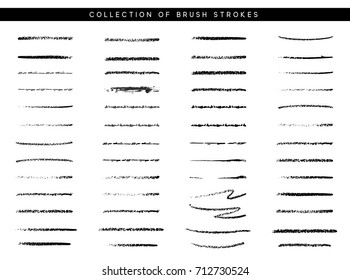 Marker brush stroke. Paint collection of ink brushes.