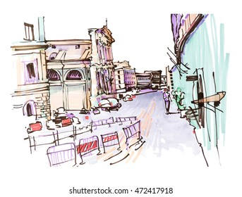 marker drawing of Rome Italy street landscape, urban sketch vector illustration