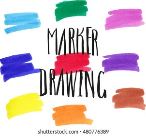 Marker drawing - violet, light blue, dark pink, dark blue, red, green, orange, yellow, brown.