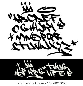 Marker graffiti tagging font and signs (crown, heart, stars, arrow, dot, quotation mark, spade). ''Hip-hop king-thug life''  quote on black background.