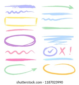 Marker highlighters shapes. Hand drawn brush ink scribble forms frames arrows and dividers oval circles lines vector colored sketches white background isolated