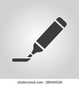 The marker icon. Highlighter symbol. Flat Vector illustration