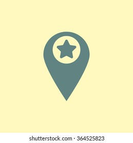 Marker location icon with star sign