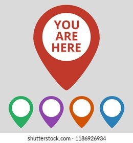 Marker location icon with you are here text. Vector illustration