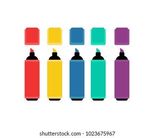 Marker pen icon in flat style isolated vector illustration on white transparent background.
