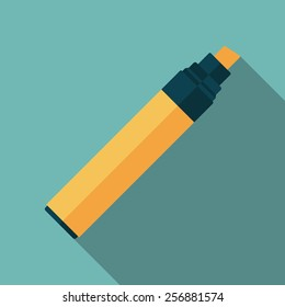 marker pen icon with long shadow. flat style vector illustration