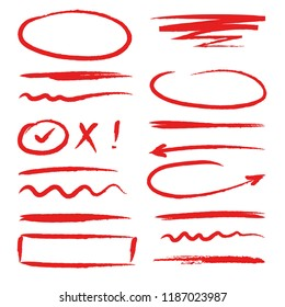 Marker red highlighters. Hand drawn brush ink scribble forms frames arrows and dividers oval circles lines vector colored sketches