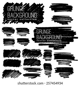 marker stripes set. Set of four black grunge design elements