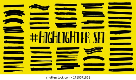 Marker strips, color stroke, brush pen hand drawn underline.