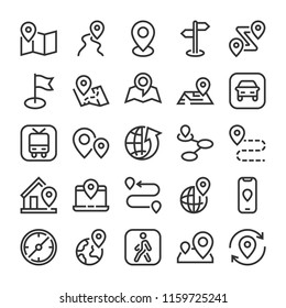 Markers, point and navigation icons set. Line style