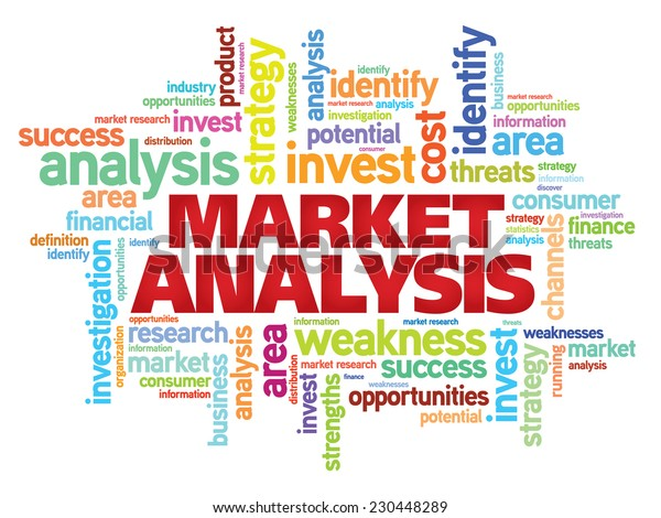 Market Analysis concept vector word cloud