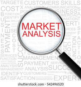 Market Analysis. Magnifying glass over seamless background with different association terms.