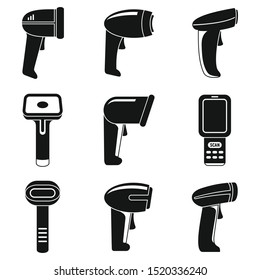 Market barcode scanner icons set. Simple set of market barcode scanner vector icons for web design on white background