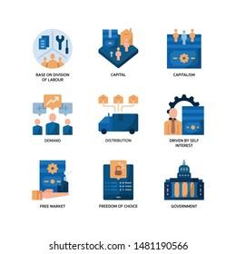 Market Economy icons set flat style