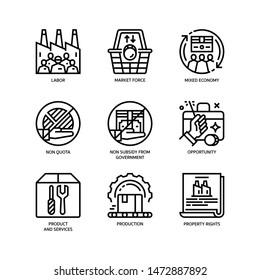 Market Economy icons set outline style