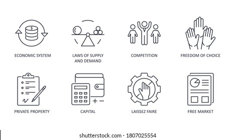 Market economy icons. Vector set icon financial symbol editable stroke. Economic system, laws of supply and demand private property freedom of choice. Competition free market laissez faire capital.