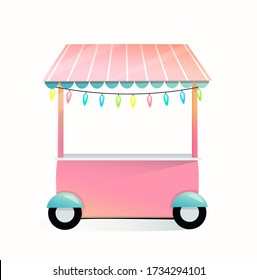 Market empty stall or stand isolated on white background. Cartoon little kiosk for selling sweets or bakery on wheels illustrated design, for kids. Vector illustration in watercolor style.