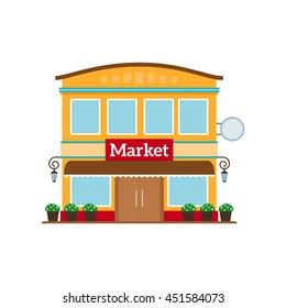 Market flat style icon isolated on white. Vector illustration