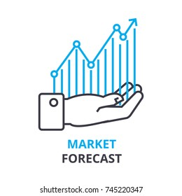 market forecast concept , outline icon, linear sign, thin line pictogram, logo, flat illustration, vector