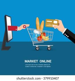 Market online cartoon vector.