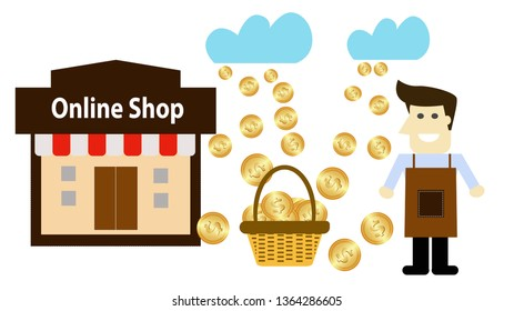Market Online store Shopping. flat design concept. Vector illustration.