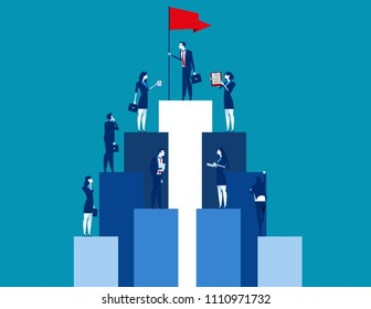 Market peak, Teamwork and partnership working to business success. Concept business vector illustration, Flat business cartoon, Analysis, Office people.
