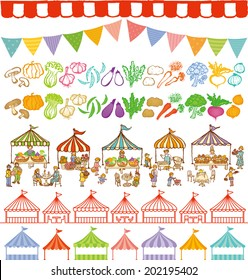 market place illustrations and event tents frames.