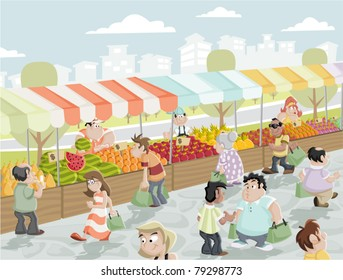 Market place on a street with food and vegetables stands. Market stall.