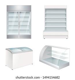 Market refrigerators. Empty commercial equipment showcase for store vector realistic refrigerators
