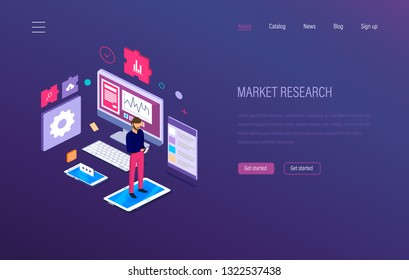 Market research. Analysis, growth chart graphic, research statistic, strategic financial planning, business analytics, communications, advertising, e-commerce, seo. Isometric vector.