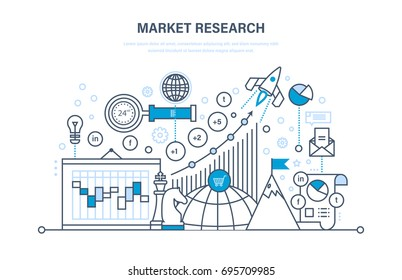 Market research. Analysis, growth chart, research statistic, information exchange. Implementation of innovations, accounting in projects. Illustration thin line design of vector doodles.