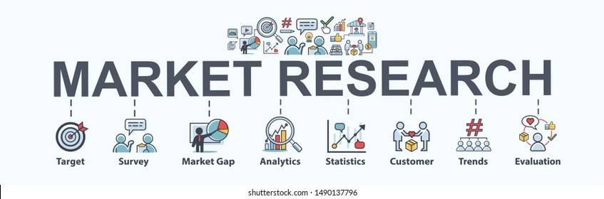 Market research banner web icon for business and social media marketing, target, survey, market gap, customer, trends, analytics and statistics. Flat vector infographic.