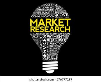 Market Research bulb word cloud, business concept