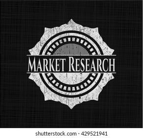 Market Research chalkboard emblem written on a blackboard