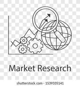 Market research icon concept on transparency background. Creative idea design for template, web page, presentation or mobile app.. Line vector illustration use for your project.