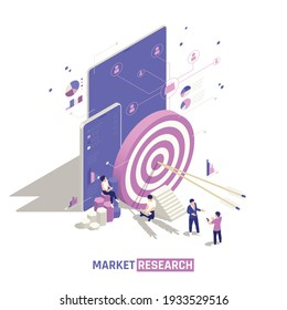 Market research isometric design concept with arrows in the center of big target and user account profiles network communication vector illustration