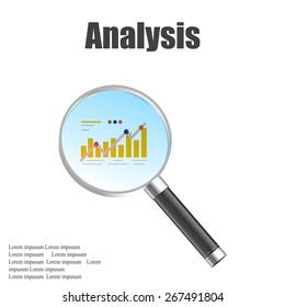 market research magnifier vector illustration