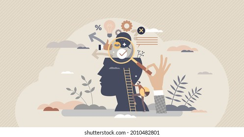 Market research and search for new business information tiny person concept. Financial data exploration and investment planning vector illustration. Find info about company customers or product demand
