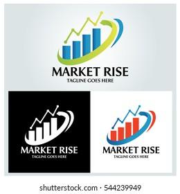 Market rise logo design template ,Vector illustration