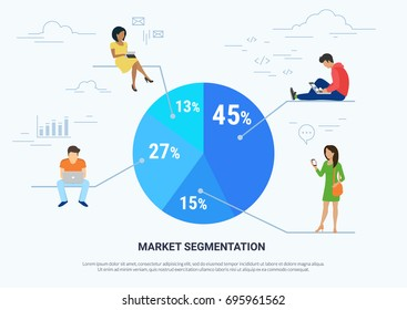 Market segmentation infographic vector illustration of people sitting on round percentage diagram. Flat people working with laptop, chatting messages and calling. White background of user experience