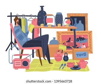 Market seller. Traditional flea market with secondhand clothes toy and bazaar salesman commercial vector marketplace concept