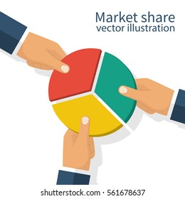 Market share business concept. Competing businessman holding in hand pie chart. Competing. Economic financial share profit. Vector illustration flat design. Isolated on white background.