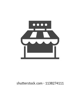 Market shop glyph icon. Kiosk, store, retail graphic pictogram. Street food or cafe concept black flat label. Logo of commercial market place. Vector illustration isolated on white
