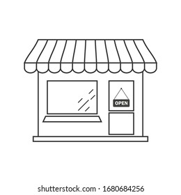 Market shop line icon. Kiosk, store, retail graphic. Street food concept linear label. Vector illustration isolated on white.