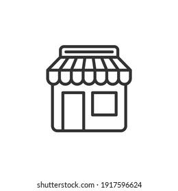 Market shop line icon. Kiosk, store, retail graphic pictograph. Street food concept linear label. Vector.