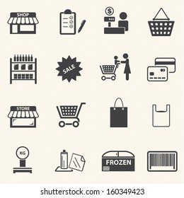 Market and shopping mall. Vector icons set