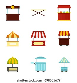 Market stall icon set. Flat style set of 9 market stall vector icons for web isolated on white background