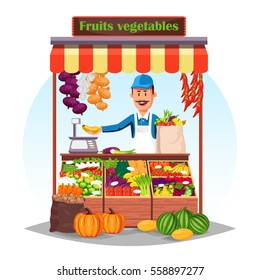 Market stall with salesman trading fruits and vegetables. Counter, bazar stand with carrot and red chili pepper, shallot onion and garlic, peas and cabbage, banana and scales. Grocery retail theme